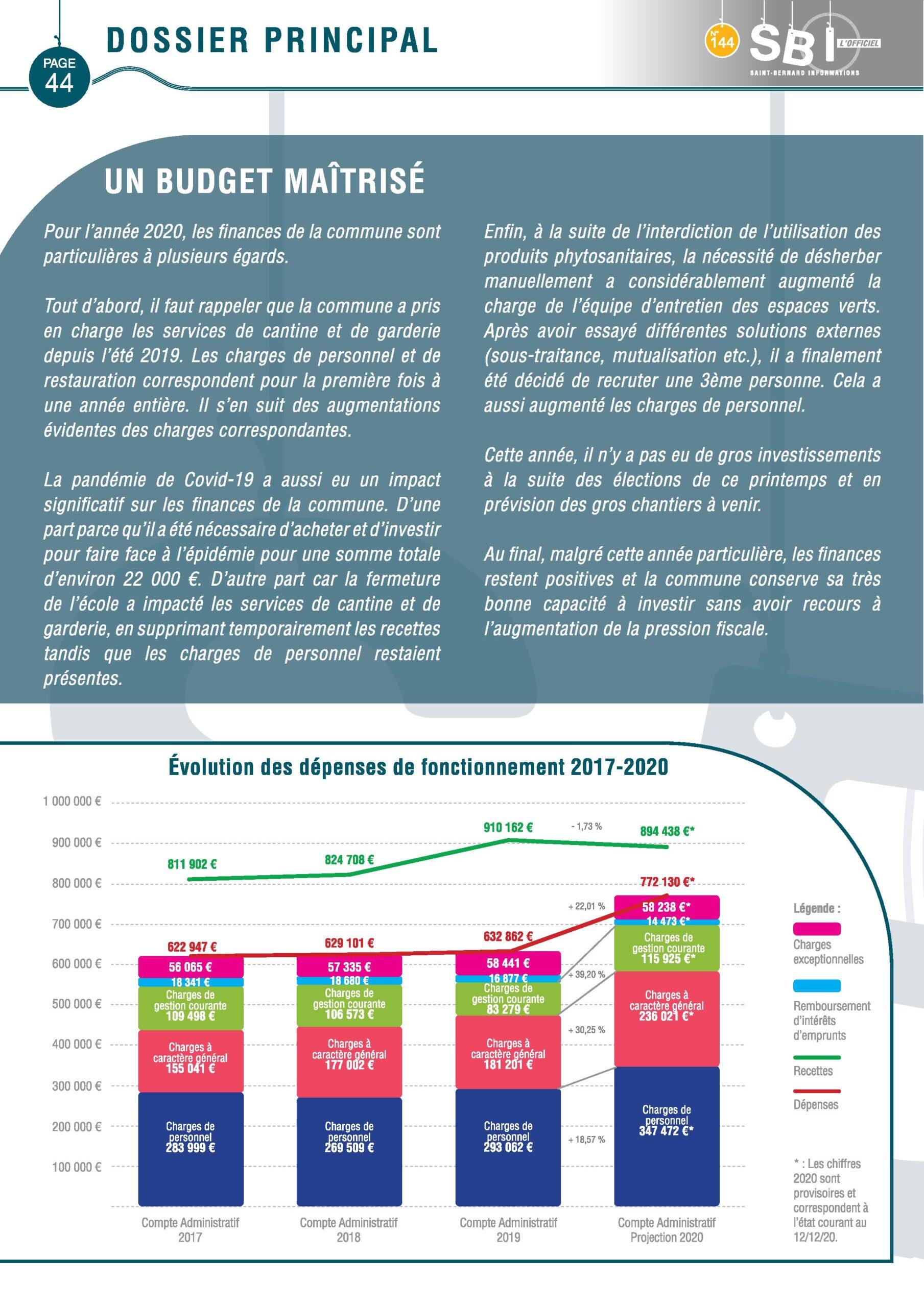 Page du SBI traitant du budget de Saint Bernard