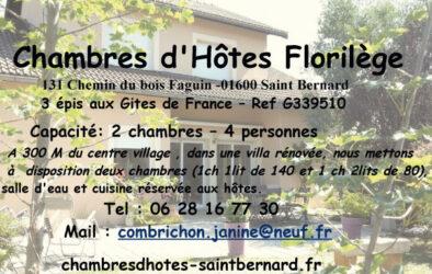 Encart annonceur Chambres d'hôtes Florilège